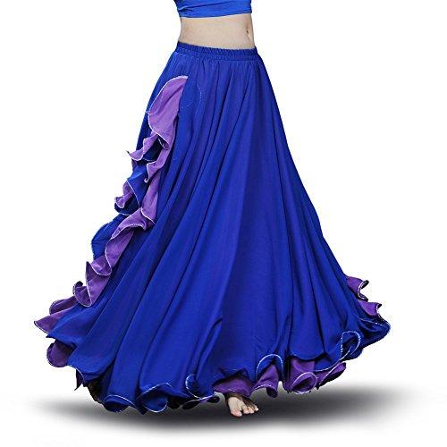 ROYAL SMEELA Bauchtanz Rock Flamenco Rock Damen Tanzkleidung Chiffon Schlitz Maxirock Doppelt Schicht Rüschen Big Swing Langer Rock Tanzkostüm Performance Kostüm (Übergröße Flamenco Kostüm)