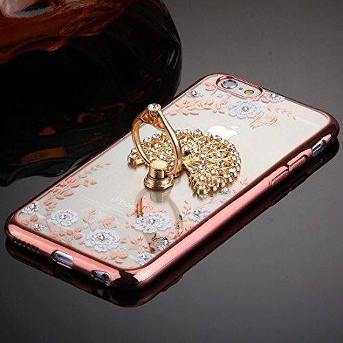 Phone case & Hülle Für iPhone 6 Plus / 6s Plus, Grüne Blumen & Pfau Flügel Pattern Diamond Electroplated TPU Schutzhülle mit Halter ( SKU : IP6P0101H ) IP6P0101D