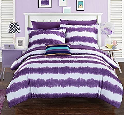 Chic Home 7 Piece Noah Striped Hand Dipped Shibori Tie-Dye Printed Bed In A Bag Comforter Set with Sheet Set & Colorful Pillows, Twin X-Large, Purple by Chic Home