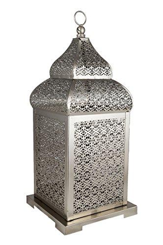 Orientalische Laterne aus Metall Kalila 41cm | orientalisches Windlicht silber | Marokkanische Metalllaterne für draußen als Gartenlaterne, oder Innen als Tischlaterne | Marokkanisches Gartenwindlicht