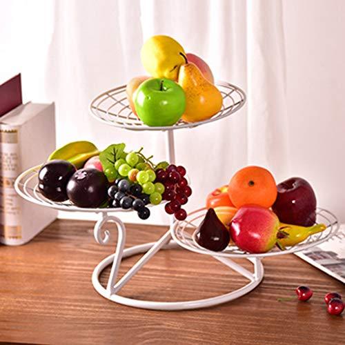 Obsttablett, Obstregal aus Stahl, elegantes Serviertablett mit festem Standfuß, 3-stufiges Party-Food-Server-Display für minimalen Stauraum,White