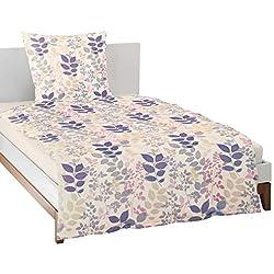 Irisette Bettwäsche Single-Jersey Natur-blau-rosa Größe 135x200 cm (80x80 cm)
