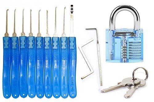 Kit de crochetage de serrures professionnel pour débutants–Kit avec cadenas transparent pour s'entraîner au crochetage –Kit de 11pièces pour serrurier (9crochets à serrure + 2tendeurs) pour formation de serrurier