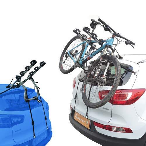 EMMEA PORTABICI Posteriore Auto 3 Bici Regolazione Cinghie Biciclette Compatibile con Peugeot 206 CC 2P (00-07) Alluminio CARICO Max 45KG Protezione TELAI Verona Alu