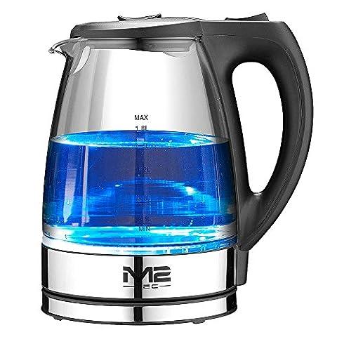 M2 Tec Glas Wasserkocher mit LED Beleuchtung 2200 Watt 1,8 Liter 360° Kabellos Kalkfilter am Ausguss BPA frei