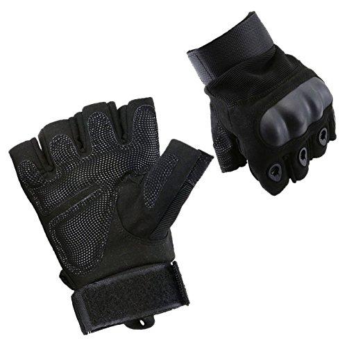 Graceme Handschuhe Motorradhandschuhe für MTB Mountainbike Motorrad Motocross Quad Paintball Airsoft Security Tactical Militär KTM Fahrrad Rad Herren Damen Touchscreen (Halber Finger Schwarz, XL)