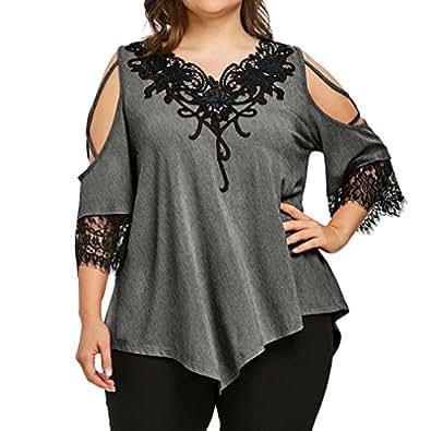 Familizo T-Shirt Femme Grande Taille, Blouse à Manches Courtes en Dentelle (2X-Large, Gris)