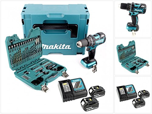Brushless Bohrer (Makita DDF 480 RMJ 18 V Brushless Akku Bohrschrauber Solo im Makpac + 2x 4,0 Ah Akku + Ladegerät + 100 tlg. Bit & Bohrer Set)