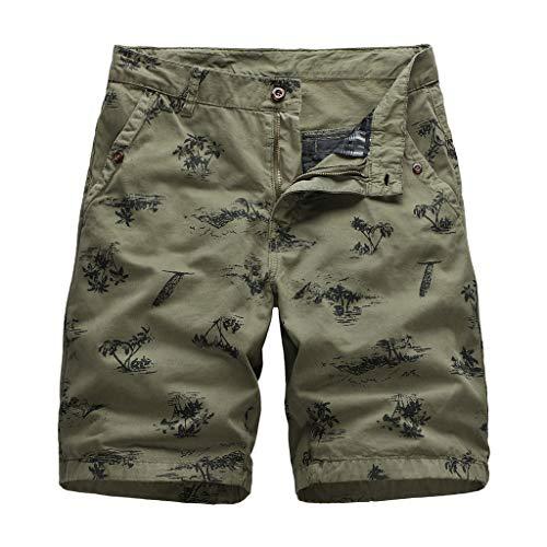 Xmiral Shorts Herren Im Freien Einfarbig Cargohose Strandshorts Zipper-Taste Freizeitkleidung Jogger Fitness Atmungsaktive schnell(D Khaki,L) (Orange Shorts Jordan)