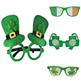 Liqiqi St. Patricks Day Party-Glitter Kunststoff Shamrock Gläser Irish Day Festival Zubehör Grün Hut (4 Stück)