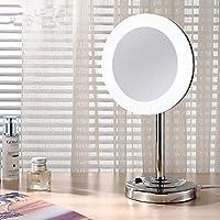 Comparador de precios ZYZX Espejo Espejo del baño de Escritorio Gire el WC 3 Veces Espejo Espejo de Aumento de Doble Cara Plateada Espejo Espejo Espejo de Maquillaje de Montaje en Pared,no Frames LED Espejo unidireccional - precios baratos