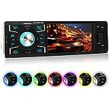 XOMAX XM-VRSU416BT radio para coche/coche + 10 cm/4'' pantalla de alta definición HD + de vídeo y Audio: MP3 incl ID3 TAG, WMA, MPEG4, AVI etc, + Bluetooth manos libres y reproducción de música via A2DP + 7 colores de iluminación ajustable + Conexión USB hasta 128 GB! + ranura para tarjetas Micro SD de hasta 128 GB! + Single DIN (1 DIN) Tamaño de instalación estándar + con Control remoto con pila y marco