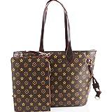 LeahWard® Damen 2 IN 1 Schultertasche mit Clutch Bag Designer-Einkaufstaschen (Blumen Tasche mit Kupplung)