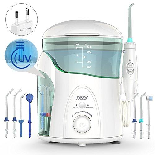 Idropulsore Dentale con Sterilizzatore UV, THZY Irrigatore Orale 600ml Capacità Famiglia Capacità...