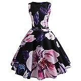 QUINTRA Damen Kleid Retro Cocktailkleid Vintage Druck Sleeveless Faltenrock beiläufiges Abend-Partei-Abschlussball-Schwingen-Kleid (Lila, XL)