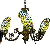 Europäischen Tiffany Glas Parrot Esszimmer Deckenleuchte Anhänger Lights Bar Zähler Club Bronze Metall Kronleuchter Country rustikal Balkon Anhänger Lampe Tiffany gelb