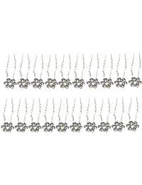 STRIPES Gold Crystal Rhinestone Flower Design Juda Pins For Women - Pack Of 20