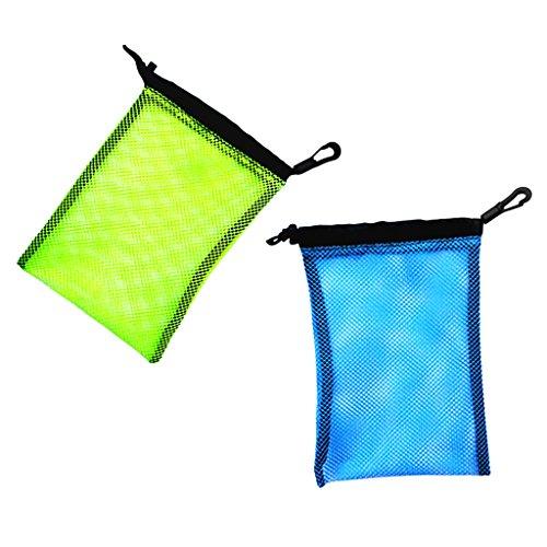 MagiDeal 2 Stück Mesh Bag, Netztasche mit Karabiner für Tauchen Schnorcheln Schwimmen Ausrüstung Aufbewahrung wie Flossen Schnorchel Tauchbrille Tauchermaske Tragetasche, Outdoor Beutel (Tauchausrüstung Maske, Schnorchel)