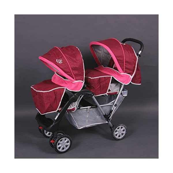 Exclusive Tandem - Twin Pram rose - BambinoWorld Bambino World You are purchasing a high quality and first class Tandem/ Twin Pram from Bambino World, with additional equipment and safety features, ideal for great day trips and every day use. Ideal pram for parents of twins or children with small difference in age. While your larger child explores the environment, your baby sleeps at fresh air. It is suitable from birth (rear seat) and 6 months (front seat) to about 3 years (15 kg). MAIN FEATURES: Easy folding (112 x 56 x 40 cm) ;Size open 110 x 54 x 120 cm ; weight 16,5 kg ;Height handle 107 cm, backrest 40 cm, seat depth 23 cm; wheel diameter 20 cm . EXCLUSIVE ADVANTAGES:Very compact and light frame ;All wheels with springing for a comfortable journey ;Front reflectors for your safety ;Lockable swivel front wheels ;Separate brakes on rear wheels ;Several position lie back adjustable seat :Back seat: sitting and lying position ,Front seat: sitting and resting position ;Seat guarantees good ventilation and comfortable seating ;5-point safety harness ; Age: Front seat: 6-36 months | Rear seat: 0-36 months 4