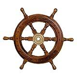 Dekoratives Steuerrad aus Holz mit Messingnabe. Von S bis XXL . Nautik Optik, Boot, Schiff, Maritim (Größe S - 30 cm)