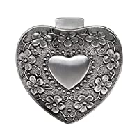 Sumnacon Vintage Jewellery Box Heart Shape Small Display Case for Ring Necklaces Earrings Trinket Storage Organizer Case Antique Silver Mini Keepsake Box