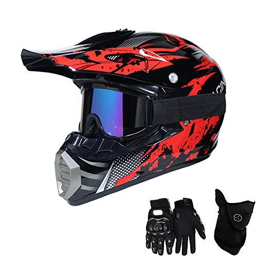 QYTK® Série MT-518 Motorradhelm, Full face Motocross Helm Sport Adventure Racing Motorrad-Helm Motocross Schutzhelm MTB Schutz Sicherheit Helm mit Handschuhe Maske Brille,S52~53CM