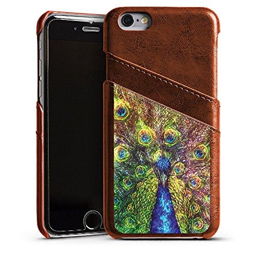 Apple iPhone 5 Housse Étui Silicone Coque Protection Paon Oiseau Animaux Étui en cuir marron