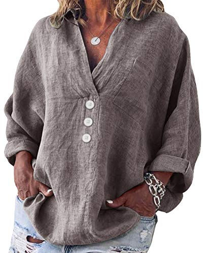 Yidarton Bluse Damen Langarm Oberteil Casual V-Ausschnitt Tops Tunika Lose Baumwolle Große Größen Hemd Leinenbluse (Grau, 3XL=(EU 44-46)) -