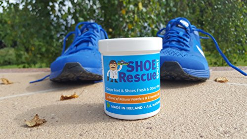 51BUM6JSFiL - Shoe Rescue Polvos para pies y calzado Elimina el olor de pies 100% natural Contiene aceites esenciales Árbol de Té Eucalipto y Menta 100g