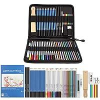 AGPTEK- tuval/keten ve aksesuarları, sanatçılar Sketcher'da, öğretmenler ve Schüler için ideal Reißverschlusstasche ile kalem seti, 53 renkli kalemler, kalem, sulu boya kalemi ve Çizim Set renkli