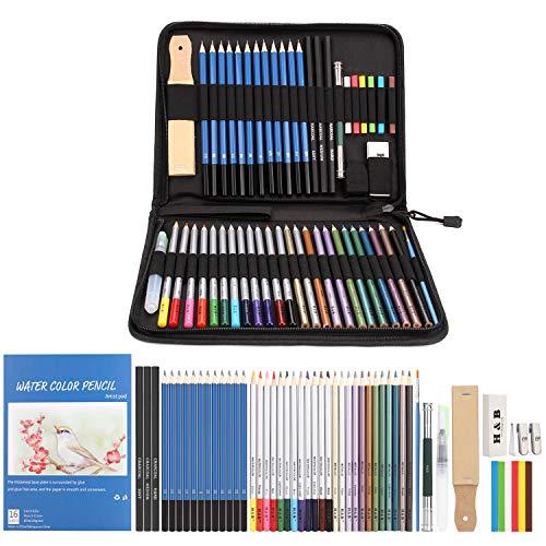 AGPTEK Farbstift-Set, 53 Buntstifte, Zeichenstift, Aquarellstift & Skizzierstift-Set mit Reißverschlusstasche aus Canvas/Leinen und Zubehör, Ideal für Künstler, Skizzierer, Lehrer & Schüler -