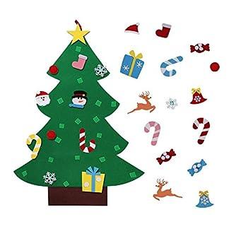 Gosear DIY Fieltro árbol de Navidad decoración Navidad Fiesta Pared Colgante Ornamento para niños Regalo casa Oficina Tienda Ventana decoración