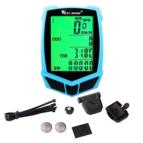 Fahrradcomputer, West Biking Wired Wireless Wasserdichte Fahrrad Tachometer mit Hintergrundbeleuchtung, Bike Entfernungsmesser Radfahren Multifunktions Schwarz Grün Blau
