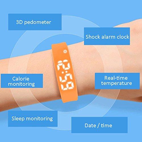 ZLR Silencio Creativo Reloj despertador de vibración macho y hembra Reloj negro Reloj de alarma silencioso Anti-perdida Reloj de mano ( Color : Naranja )