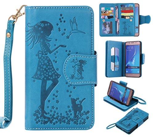 Cozy Hut Samsung Galaxy J5 2016 Schutzhülle, [9 Card Slots] PU Leder Flip Wallet Case Leder Tasche Bumper Stand Funktion Kartenfächer Magnet Closure HandyHülle für Samsung Galaxy J5 2016 - blau