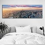 yhyxll Skyline di Parigi Stampe su Tela Stampe su Tela Paesaggio Notturno di Parigi Poster e Stampe Immagini su pareti Quadri Decorativi per Camera da Letto 2 50x150cm