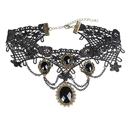 Hosaire Collier für Damen Mädchen, Schwarz Classic Anhänger Tattoo lace-best Dekoration für Sommer Kleid,schwarz (Lace Anlass Kleid)