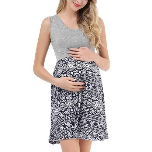 Cuteelf Schwangere Frauen Rock Frauen Schwangere Frauen stillen Schwangere Frauen V-Ausschnitt ärmellose Nähte Print Kleid bequemes Stillen sexy elegant
