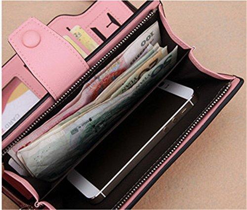 Wewod.Genuine koreanische Version der großen Kapazität Tasche Damen Geldbörse Multi-Mobilfunkkarte etwas Farbe Reißverschluss Tasche Schnalle Handtaschen Rosa