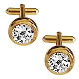 #8: Menjewell Classic & Rich Collection Gold Plated Round Design Formal Dress Cufflinks,Shirt Cuff Links Collar Button Gift For Men