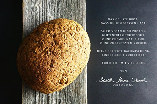 PALEO Brot-Backmischung: Kastanie & Mandel | Bio | Vegan | Getreidefrei, Gluten-frei | Eiweissbrot - 20% Protein | ohne Zuckerzusatz | Hergestellt in DE | Paleo To Go | Ergibt 4 Brote (1.8 kg) - 2