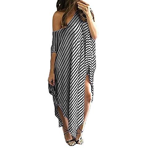 Women Shirt Dress Long Loose Stripe Batwing Sleeve Off shoulder Dress Plus Size (Tag XL, Grey)
