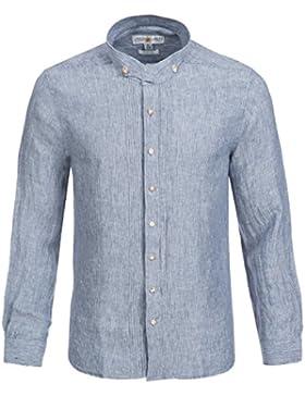 Almsach Trachtenhemd Slim Fit in Dunkelblau von Leinenhemd