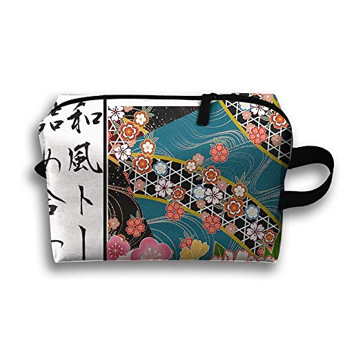 Travel Bag Japanese Floral Wallpaper Travel Case Cosmetic Storage Bags Makeup Clutch Pouch Organizer Bag Pencil Holder - Schatten Wallpaper