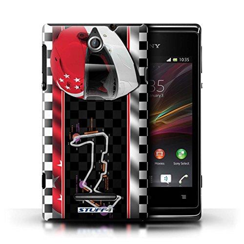 Kobalt® Imprimé Etui / Coque pour Sony Xperia E / AbuDhabi conception / Série F1 Piste Drapeau Singapour