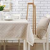 Joliann Tischdecke Ländlichen Stil Kleine Weiße Chrysantheme Muster Baumwolle und Leinen Spitze Rechteckige Tischdecke Couchtisch Tuch Schreibtisch Tuch, 130 * 180Cm