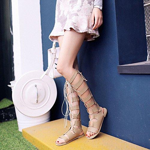 Wealsex Reißverschluss Lace Up Sandalen damen KNIE STIEFEL Sandals Wohnungen Riemchen Sandaletten Beige