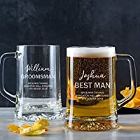 Personalised Pint Glass Tankard/Best Man Gift/Groomsmen/Usher/Father of the Bride Groom Unique Engraved Wedding Gifts