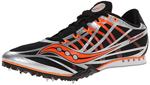 Saucony Uomo Velocity 5 Running Spike, (Silver/Black/Vizi Orange), 49 EU