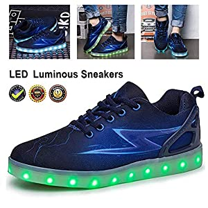 7 Colours LED Women Luminous Sneakers Breathable Light Up Trainers Shoes USB Charging Sport Running Shoes Lace Up Fiber Optic Shoes Flashing Fashion Flat Non Slip Casual Shoes